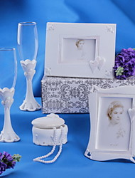 Peal Pink Wedding Collection Set Including Guest Book,Toasting Flutes,Album,Jewelry Box (5 Pieces)