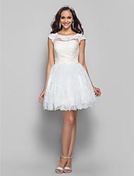 vestido de uma linha princesa bateau curto / mini-renda e tule cocktail / baile (618.858)