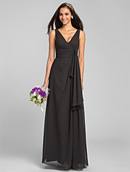 Lanting Floor-length Chiffon Bridesmaid Dress - Black Plus Sizes / Petite Sheath/Column V-neck