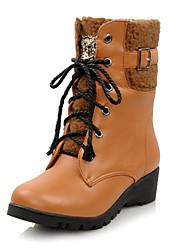 Со вкусом PU лодыжки сапоги с шнуровке Повседневная обувь (больше цветов)