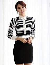 JANE FANS Elegantes Langarm Streifen dünnes Spitze T-Shirt (Random Pattern)