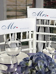 "Wedding Décor ""Mr and Mrs"" Personalized Stain Chair Sashes(set of 2)-(More Colors)"