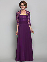 A-line Plus Sizes / Petite Mother of the Bride Dress - Grape Floor-length 3/4 Length Sleeve Chiffon / Lace