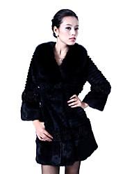 Long Sleeve Shawl Collar Rabbit Fur Party/Casual Coat(More Colors)