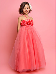 First Communion / Wedding Party Dress A-line / Princess Halter Floor-length Tulle with Flower(s)