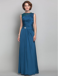 Sheath / Column Jewel Neck Floor Length Satin Chiffon Mother of the Bride Dress with Beading Crystal Detailing Side Draping byLAN TING