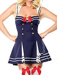 Cool e Sexy Branco Azul trespassado uniforme de marinheiro Poliéster