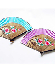 Champagne Wooden Wave Style Hand Fan (Set of 4)-(More Colors)