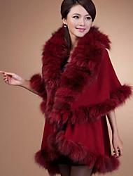 media manga chal de lana y piel de zorro del partido / capa ocasional (más colores)