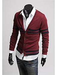 Men'S Casual Striped Cardigan Knit-Wear