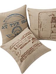 Set of 3 Transportation in 19 Century Cotton/Linen Decorative Pillow Cover