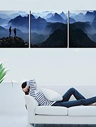 Trasferimenti su tela Art Landscape uomo sulla montagna Set di 3