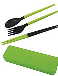 Travel Portable Detachable Plastic Chopsticks + Spoon + Fork Set with Storage Case(Random Color)