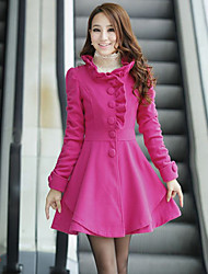 Women's Ruffle Collar Warm Solid Color Fitted Long Sleeve Outwear