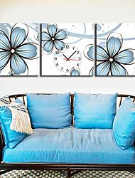 "12 ""-24"" Paese Stile floreale blu Orologio da parete in tela 3pcs"