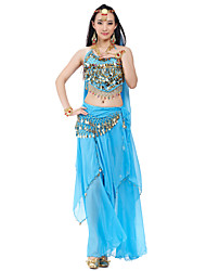 Belly Dance Outfits Women's Training Performance Chiffon Beading Coins Sequins 4 Pieces Sleeveless Top Pants Hip Scarf Headpieces