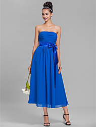 Lanting Bride Tea-length Chiffon Bridesmaid Dress A-line Strapless Plus Size / Petite with Sash / Ribbon / Ruching