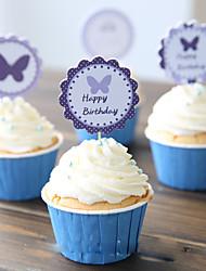 Buttlerfly Cupcake battute / cimatrici per la decorazione della torta - set di 22 (wrapper non incluse)