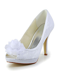 Women's Spring Summer Fall Satin Stretch Satin Wedding Stiletto Heel Satin Flower Ivory White