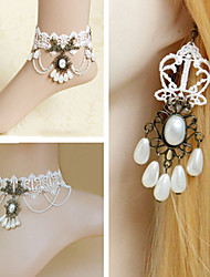 Handmade Aristocrat Pearl White Lace Princess Lolita Accessories Set