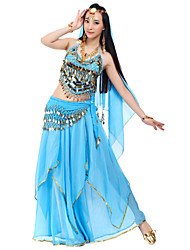 Belly Dance Outfits Women's Chiffon Beading Coins Sequins Natural