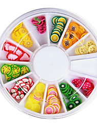 12 Colors 3D Fimo Slice Fruit Nail Art Decoration