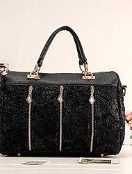 Lady Korean Lace PU Leather Sholder Bag(Black)