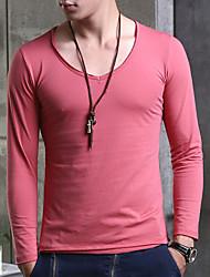 Herren V-Ausschnitt Elastic Langarm T-Shirt