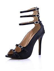 Elegant Leatherette Stiletto Heel Sandals Party Shoes