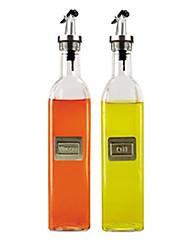 Oil Dispensers Set of 2, Glass