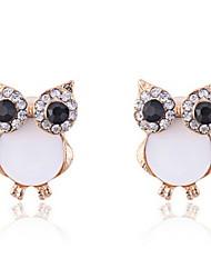 Cute Owls with Rhinestone Eyes Earrings(More Colors)
