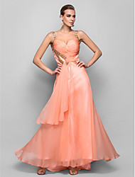 Prom / Formal Evening / Military Ball Dress - Open Back A-line / Princess Straps Floor-length Chiffon withBeading / Crystal Detailing /