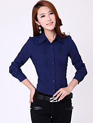 Women's Solid Blue/White Blouse/Shirt Long Sleeve Pleated