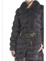 Long Sleeve Turndown Rabbit Fur Casual Coat(More Colors)