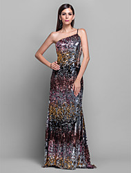 Formal Evening/Military Ball Dress - Multi-color Plus Sizes Sheath/Column One Shoulder Sweep/Brush Train Sequined
