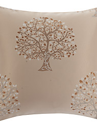"18"" Square Country Tree Beige Polyester Decorative Pillow Cover"