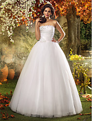 Lanting Bride A-line / Princess Petite / Plus Sizes Wedding Dress-Floor-length Strapless Tulle