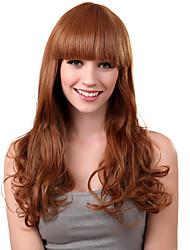 Capless Long Synthetic Light Golden Blonde Curly Hair Wig Full Bang