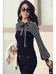 Women's Bow Neck Stripes Print Long Sleeves T-shirt
