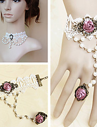 Handmade Pearl Beads White Lace Sweet Lolita Accessories Set