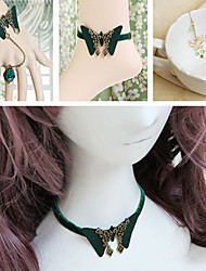 Butterfly Pattern Green Velvet Country Lolita Accessories Set