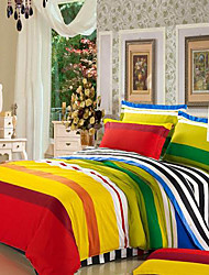 HANTING Color Bars Twill Baumwolle 4 Stück Set: Bettbezug, Bettdecke, Kopfkissen * 2 0071
