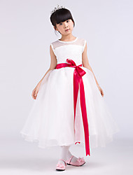 Formal Evening / Wedding Party Dress - White A-line Jewel Tea-length Satin / Tulle