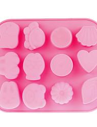 12-Cavity Silicone Mold bolo (rosa)