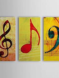 pintados à mão pintura a óleo abstrata nota da música com quadro esticado conjunto de 3 1310-ab1207