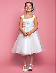 Lanting Bride A-line Knee-length Flower Girl Dress - Organza / Satin Sleeveless Square with Pearl Detailing