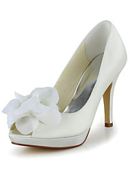 Women's Shoes Satin / Stretch Satin Spring / Summer Heels Wedding Stiletto Heel Ivory / White