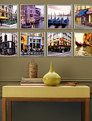 Vue de Venise paysage encadré impression sur toile set de 8