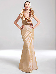 Formal Evening/Military Ball Dress - Champagne Plus Sizes Trumpet/Mermaid V-neck Floor-length Taffeta