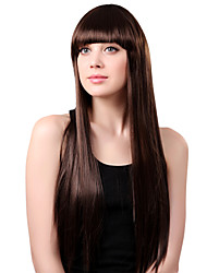 Capless Long Synthetic Brown Straight Hair Wig Full Bang